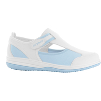Chaussure médicale blanche et bleu SRC antistatique en lycra Oxypas