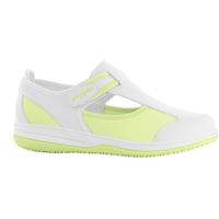 Chaussure médicale blanche et vert SRC antistatique en lycra Oxypas