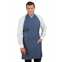 Tablier de cuisine unisexe 100% coton bleu jean Isacco