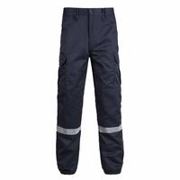 Pantalon agent de sécurité incendie bleu marine avec bandes retro