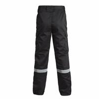 Pantalon agent de sécurité noir avec bandes retro