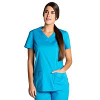 Blouse tunique médicale bleu turquoise stretch