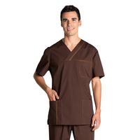 Blouse médicale marron stretch pour Homme
