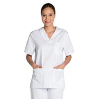 Tunique médicale blanche mixte col en V