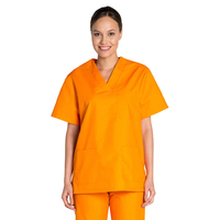 Tunique médicale orange unisexe col en V