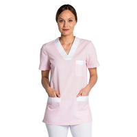 Tunique de travail femme à manche courte rose et blanc