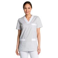 Tunique de travail femme à manche courte gris et blanc