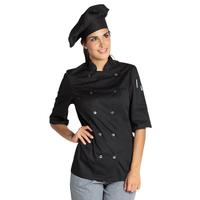 Veste noire de cuisine manches 3/4 Lady Chef Look
