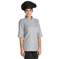 Veste grise de cuisine manches 3/4 Lady Chef Look