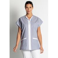 Tunique de travail femme sans manches bleu clair et blanc