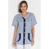 Tunique de travail femme tendance manches courtes bleu et blanc