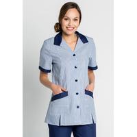 Blouse de travail femme manches courtes bleu et blanc à rayures