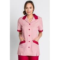 Tunique de travail femme manches courtes rayures rouge et blanc