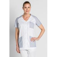 Tunique de travail femme manches courtes blanc et gris rayé
