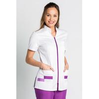 Tunique médicale manches courtes col mao blanc violet