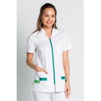 Tunique pharmacienne manches courtes blanc et contraste bleu vert