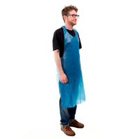 100 tabliers jetable Gaufré Bleu 120x70 ultra résistant PE 20μ - Sac distributeur mural