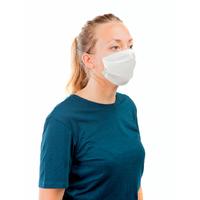 Masque hygiène 2 plis blanc, bords cousus avec élastiques - Boite de 100