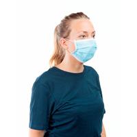 Masque filtrant non tissé à élastiques avec barette nasale 3 plis bleu - Boite de 50