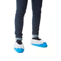 Sur-Chaussures Polypro Blanche Fond Plastifié Bleu 60µ