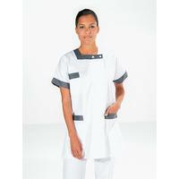 Tunique infirmière manches courtes blanc gris BERNY