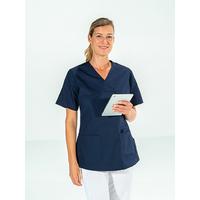 Casaque médicale femme manches courtes Bleu Marine JULIA