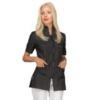 Tunique d'esthétique noire Zip avant manches courtes Isacco