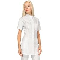 Tunique médicale blanche Coton Stretch manches courtes Isacco