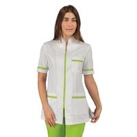 Tunique médicale pharmacie manches courtes blanc et vert Isacco
