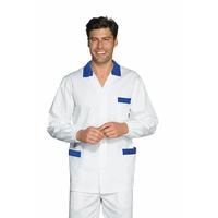 Tunique Médicale Homme Peter Blanc Bleu Cyan 100% Coton