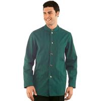 Veste Homme Col Mao Coreana Vert Rayé Noir 100% Coton