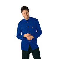 Veste De Service Col Mao Bleu Cyan 100% Polyester