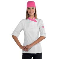 Veste de cuisine Femme 100% coton blanche et rose
