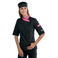 Veste de cuisine Femme manches courtes noire et rose