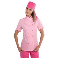 Veste de cuisine rose pour Femme Tissu extra léger