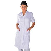 Blouse blanche de travail lugano manches courtes 100% coton