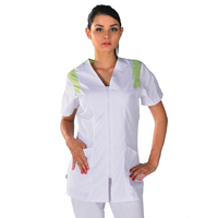 Tunique médicale Femme blanche et vert anis Clinic Look