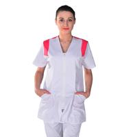 Tunique médicale Femme blanche et rose Clinic Look