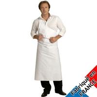 Tablier blanc de boucher Parisien avec boutonnière Polycoton