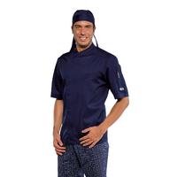 Veste de cuisine bleue Bilbao à manches courtes