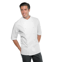 Veste blanche chef cuisine à manches courtes