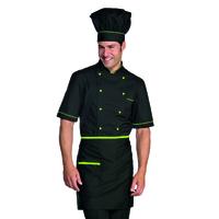 Tablier de cuisine Taille Cm 70x46 avec Poches Noir Vert Pomme