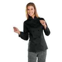 Veste noire de cuisine stretch pour Femme