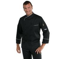 Veste de cuisine Panama coupe slim noire et blanche