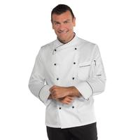 Veste de cuisine en coton satiné Panama coupe slim blanche et noire