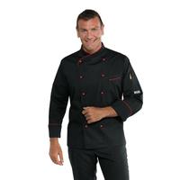 Veste cuisiner coupe slim noire et rouge