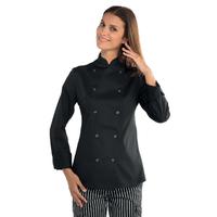 Veste noire de cuisine à boutons pression  pour Femme
