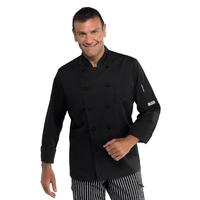 Veste cuisine noire coupe slim pour Homme