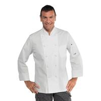 Veste blanche de cuisine pas cher coupe slim 100% coton