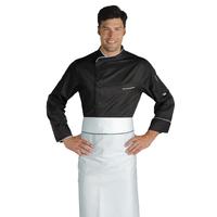Veste Chef Cuisinier Bilbao Noir Blanc Microfibres